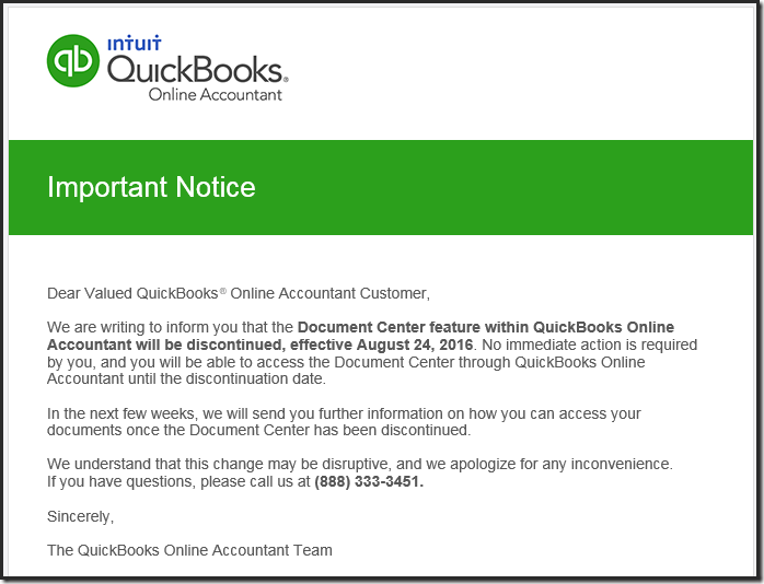 QuickBooks™ Online Document Center Closed